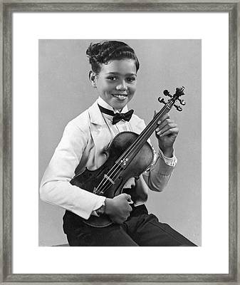 A Proud And Elegant Violinist Framed Print