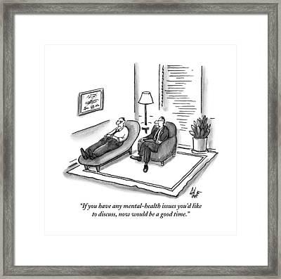 A Psychiatrist Speaks To A Man On The Sofa Framed Print