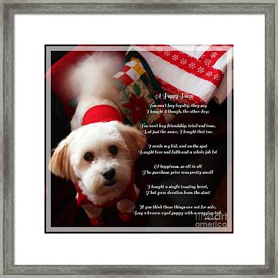A Puppy Poem And A Puppy Dressed For Christmas Framed Print by Barbara Griffin