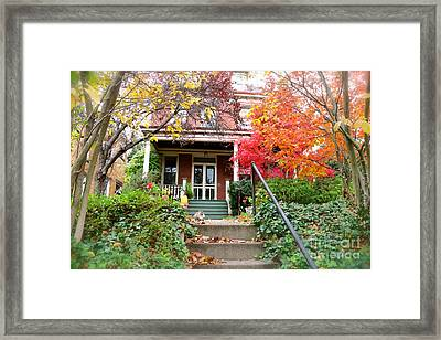 A Purrrrfect Autumn Day Framed Print