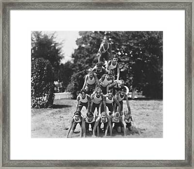 A Pyramid Of Boys Framed Print by Underwood Archives