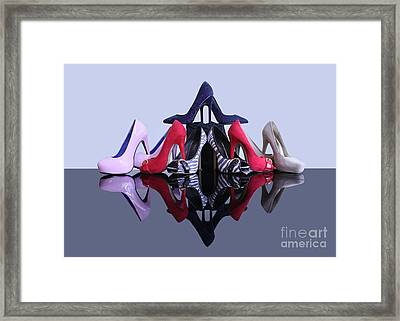 A Pyramid Of Shoes Framed Print by Terri Waters