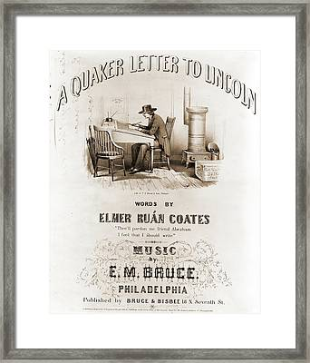 A Quaker Letter To Lincoln, Words By Elmer Ruán Coates Framed Print by Litz Collection