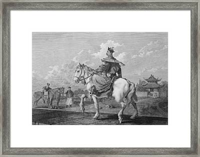A Quan Or Mandarin Bearing A Letter Framed Print by William Alexander