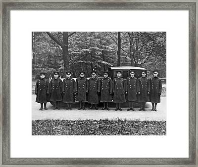 A Queen's Limo And Drivers Framed Print by Underwood & Underwood