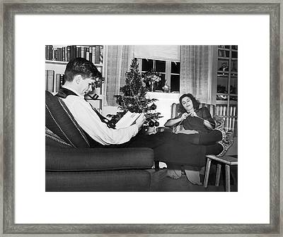 A Quiet Evening At Home Framed Print by Underwood Archives