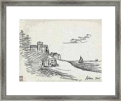A Quiet Knoll Along The Sea With Sailboats And Clouds Framed Print