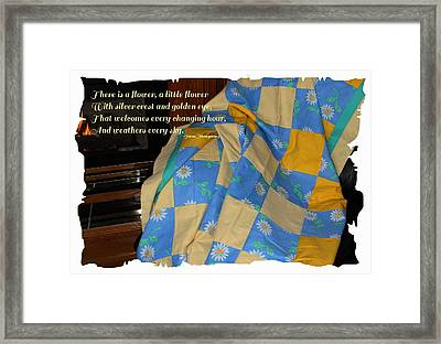 A Quilt With Daisies And Quote Framed Print