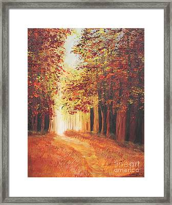 Framed Print featuring the painting A Quite Walk by Christie Minalga