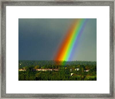 Framed Print featuring the photograph A Rainbow Blessing Spokane by Ben Upham III
