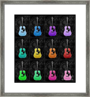 A Rainbow Of Guitars Framed Print