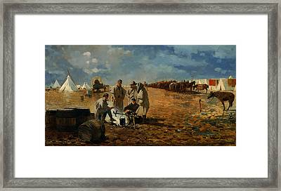 A Rainy Day In Camp Framed Print by Mountain Dreams
