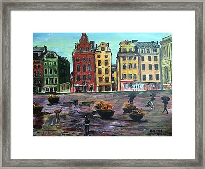A Rainy Day In Gamla Stan Stockholm Framed Print by Belinda Low