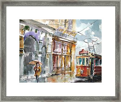 Framed Print featuring the painting A Rainy Day In Istanbul by Faruk Koksal