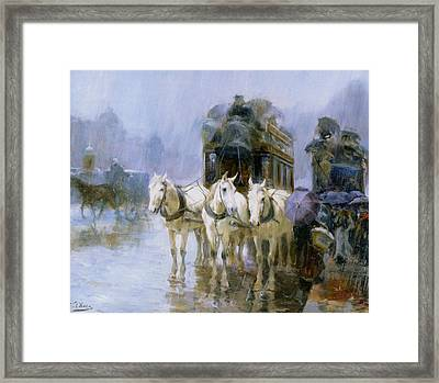 A Rainy Day In Paris Framed Print by Ulpiano Checa y Sanz