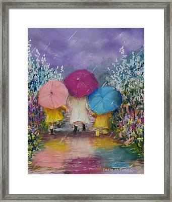 A Rainy Day Stroll With Mom Framed Print