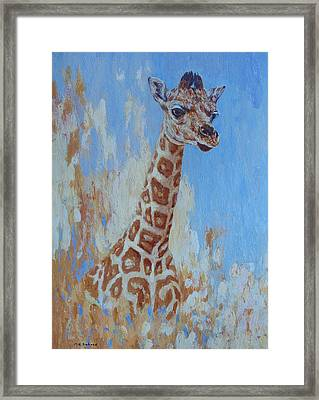 Framed Print featuring the painting A Rare Giraffe by Margaret Saheed