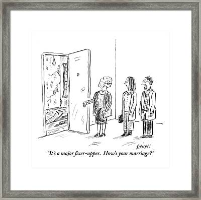 A Real Estate Agent Addresses A Couple Framed Print
