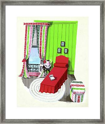 A Red Bed In A Bedroom Framed Print