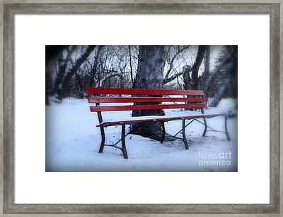 A Red Bench Waiting For Spring Framed Print
