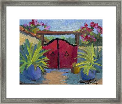 A Red Gate Framed Print by Diane McClary
