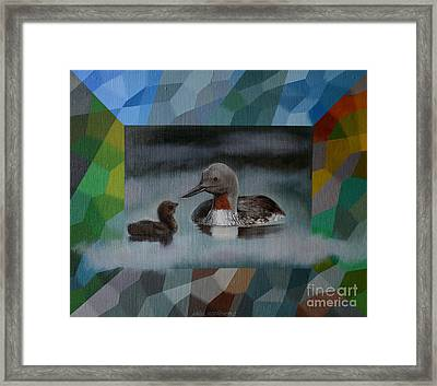 A Red-throated Diver And The Chick Framed Print by Jukka Nopsanen