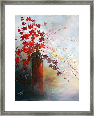 Framed Print featuring the painting A Red Vase by Dorothy Maier