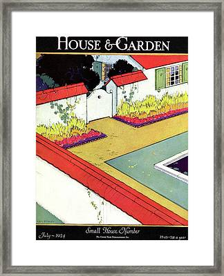 A Reflecting Pool And Garden Framed Print by H. George Brandt