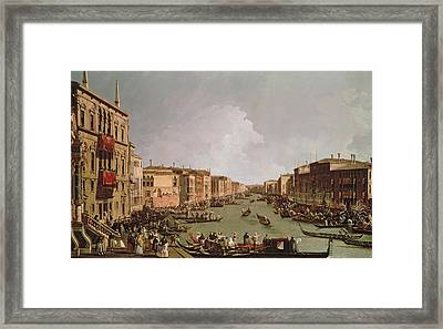 A Regatta On The Grand Canal Framed Print by Antonio Canaletto
