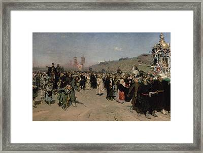 A Religious Procession In The Province Of Kursk, 1880-83 Oil On Canvas Framed Print