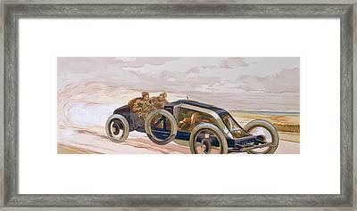 A Renault Racing Car Framed Print by Ernest Montaut