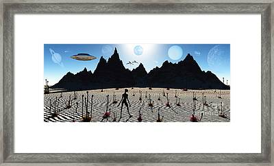 A Reptoid Alien Being On A Distant Framed Print