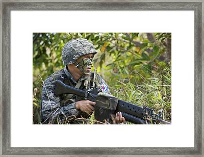 A Republic Of South Korea Soldier Framed Print by Stocktrek Images