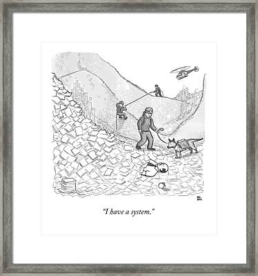 A Rescue Team Locates A Man Buried Framed Print by Paul Noth