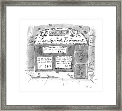 A Restaurant With Various Signs Framed Print by Roz Chast