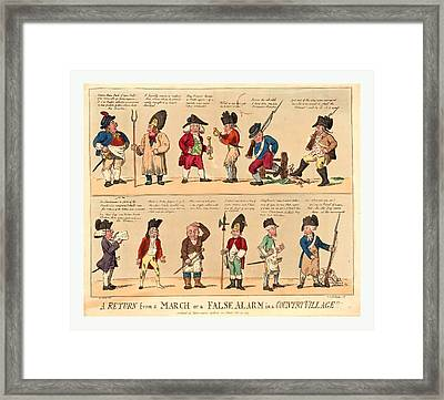 A Return From A March Or A False Alarm In A Country Village Framed Print by English School