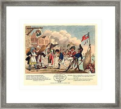 A Return From An Invasion, Or, Napoleon At A Nonplus Framed Print by French School