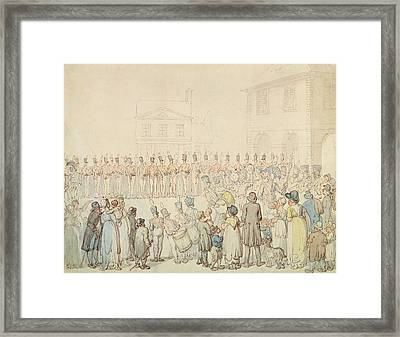 A Review Of The Northamptonshire Militia At Brackley, Northants Pen & Ink With Wc On Paper Framed Print by Thomas Rowlandson