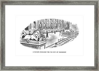 A Revised Statuary For The City Of Tomorrow Framed Print