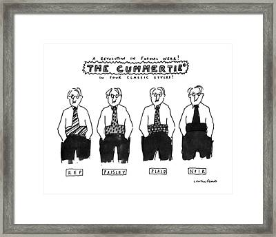 A Revolution In Formal Wear! The Cummertie Framed Print by Michael Crawford
