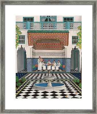 A Riad In Marrakech, 1992 Acrylic On Canvas Framed Print
