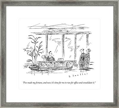 A Rich Ceo Speaks To A Man And Woman Framed Print by Barbara Smaller