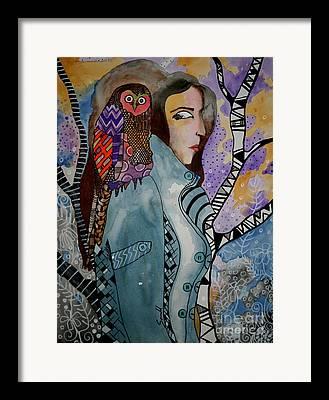 Owl On A Shoulder Framed Prints