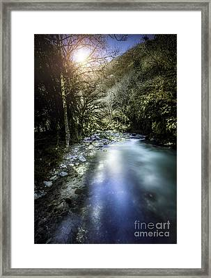 A River In A Forest At Sunset, Ritsa Framed Print by Evgeny Kuklev