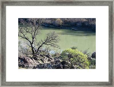 A River In Wintertime Framed Print by Lula Adams