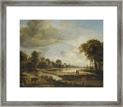 A River Landscape With Figures And Cattle Framed Print