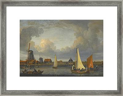 A River Landscape With Fishermen In Rowing Boats Framed Print by Celestial Images
