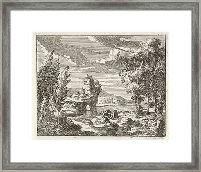 A River Landscape With Travelers, Anonymous Framed Print