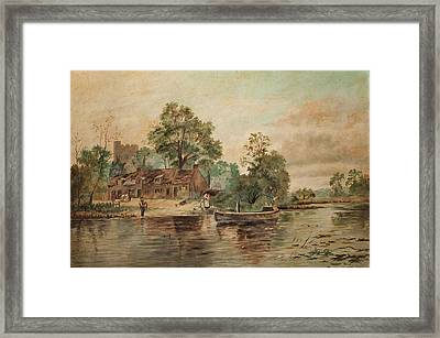 A River Scene Framed Print by Thomas Grimshaw