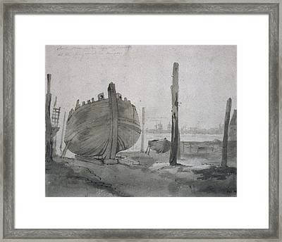 A River Scene With Vessel At Sunset Framed Print by John Constable